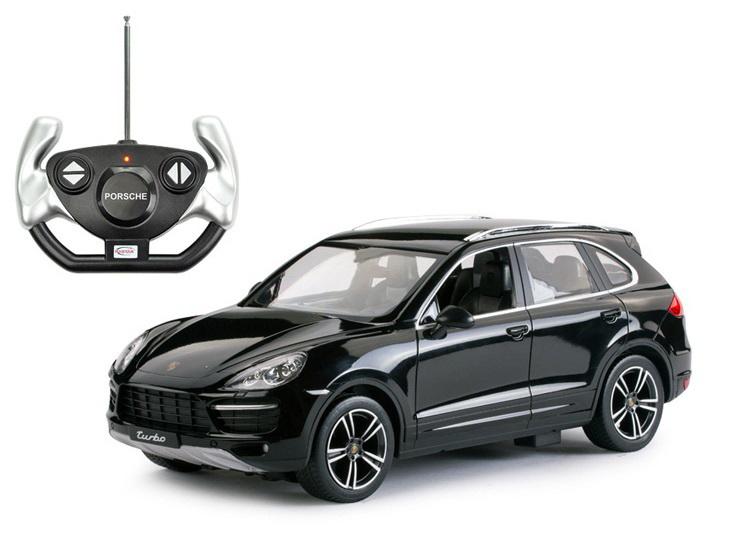 Masina Cu Telecomanda Porsche Cayenne Turbo Negru Cu Scara 1 La 14