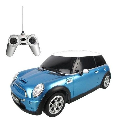 Masina Cu Telecomanda Minicooper Bleu Cu Scara 1 La 18