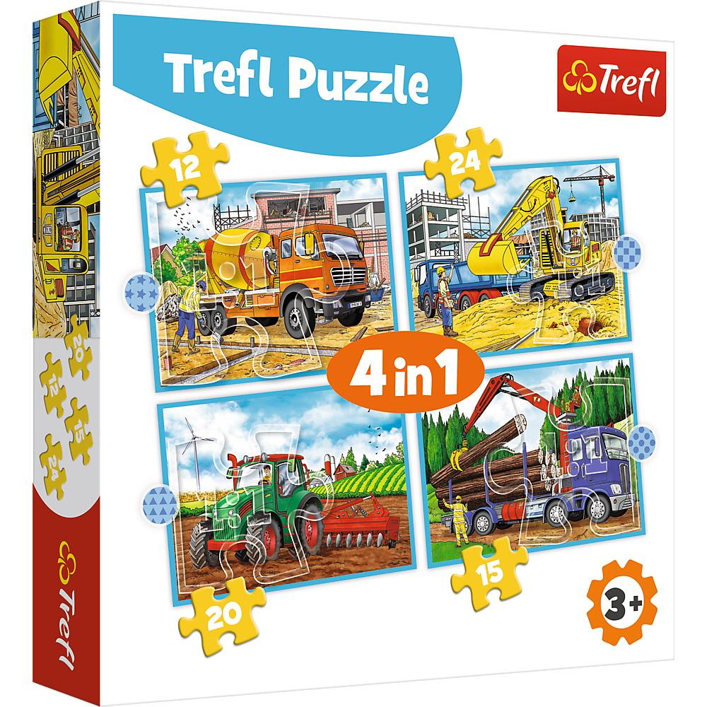 Puzzle Trefl 4in1 Utilaje Constructii