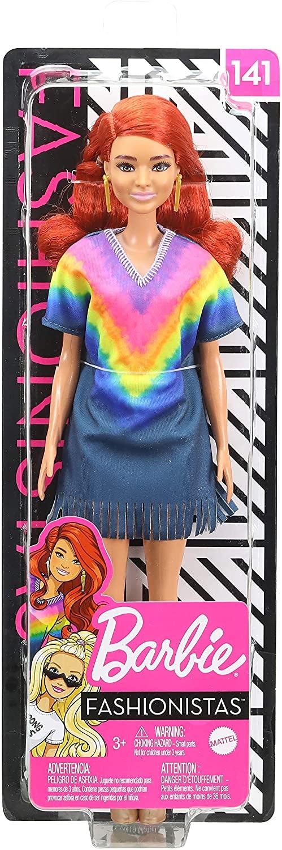 Papusa Barbie Fashionista Roscata Cu Rochita Curcubeu