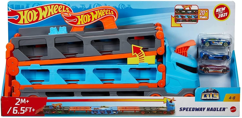 Hot Whels 2 In 1 Mega Transportator Masini Pista