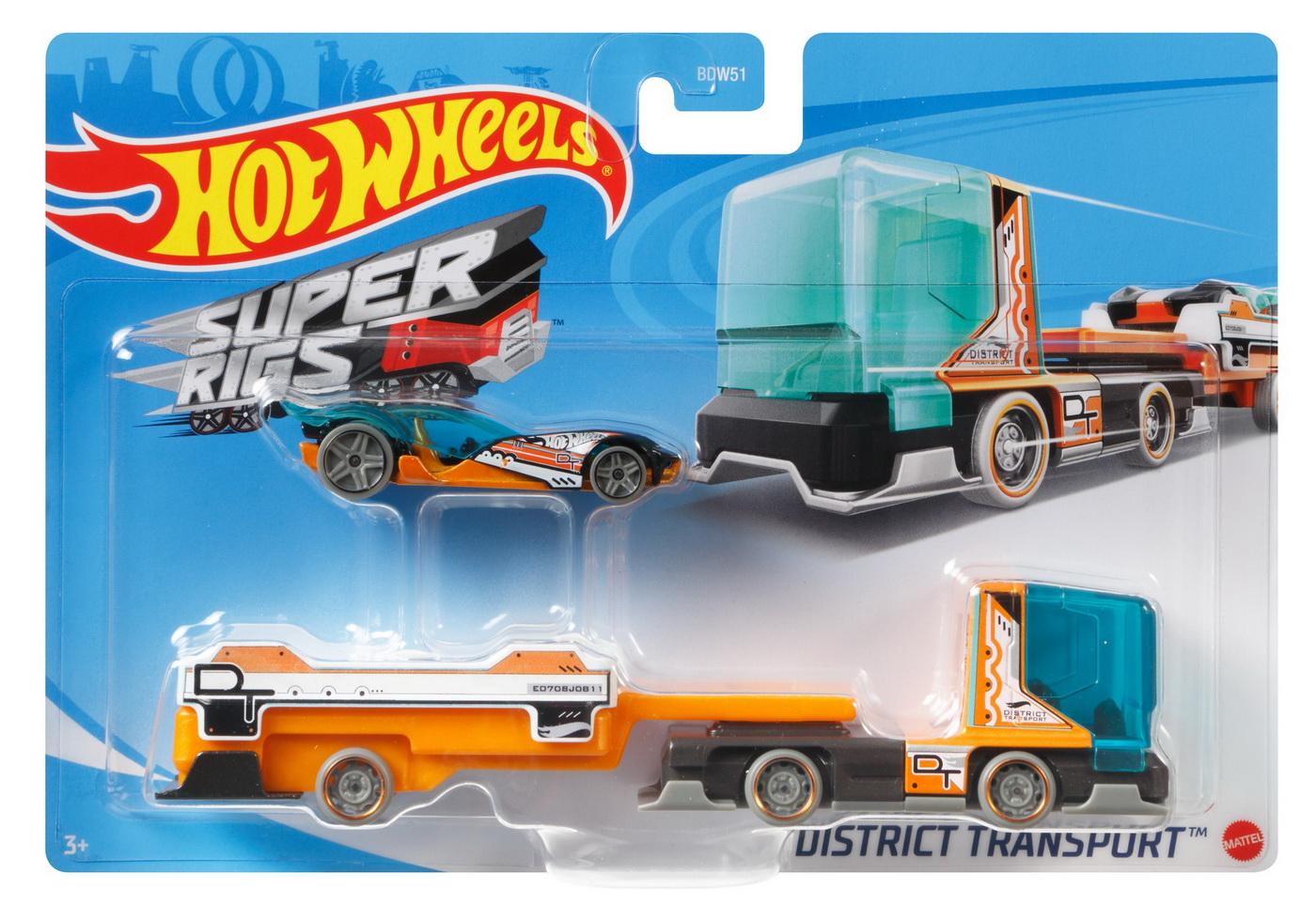 Set Camion Si Masina Sport Hot Wheels District Transport