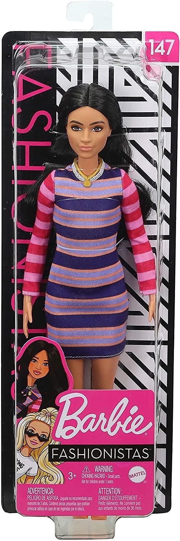Papusa Barbie Fashionista Bruneta Cu Rochita Cu Dungi Colorate