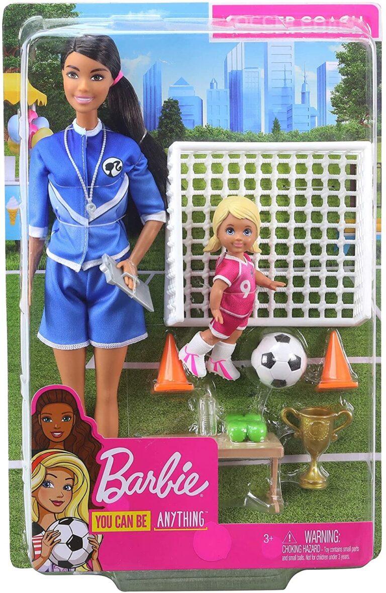 Barbie Papusa Cariere Set Sport Antrenor De Fotbal Bruneta