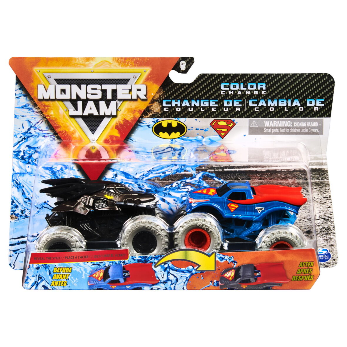 Monster Jam Set 2 Masinute Batman Si Superman Color Change
