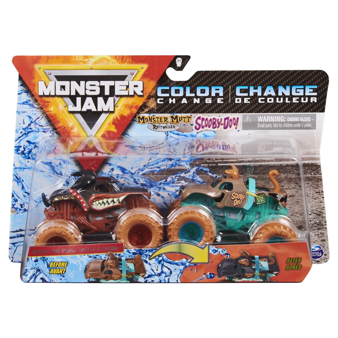 Monster Jam Set 2 Masinute Monster Mutt Rottweiler Si Scooby Doo Color Change