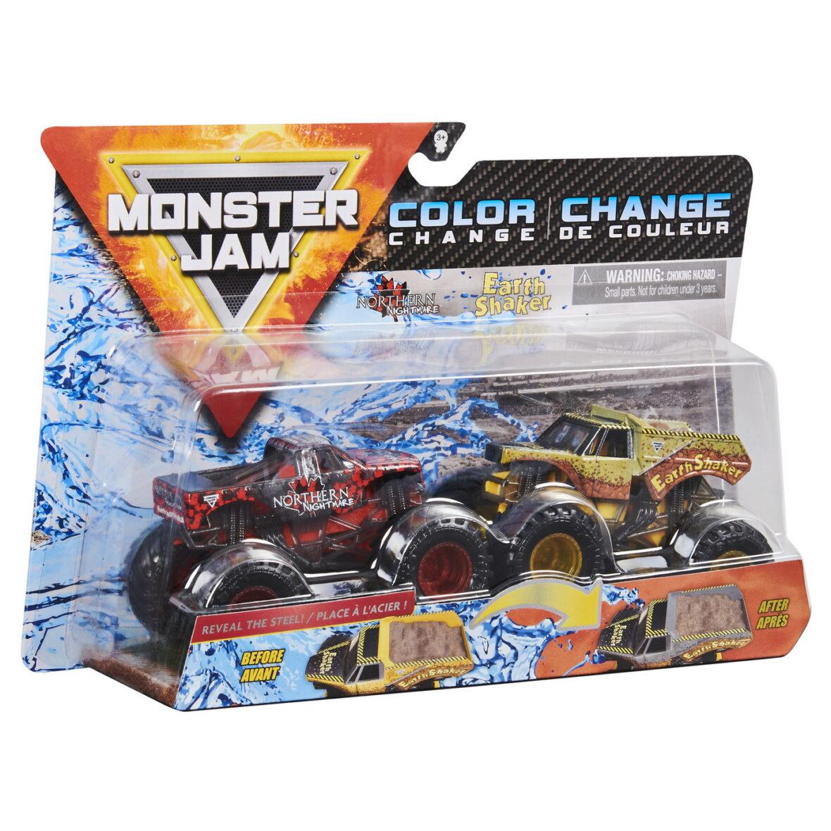 Monster Jam Set 2 Masinute Northern Nightmare Si Earth Shaker Color Change