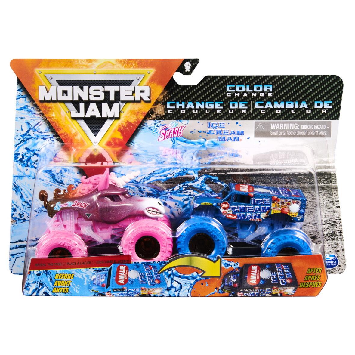Monster Jam Set 2 Masinute Sparkle Smash Si Ice Cream Man Color Change