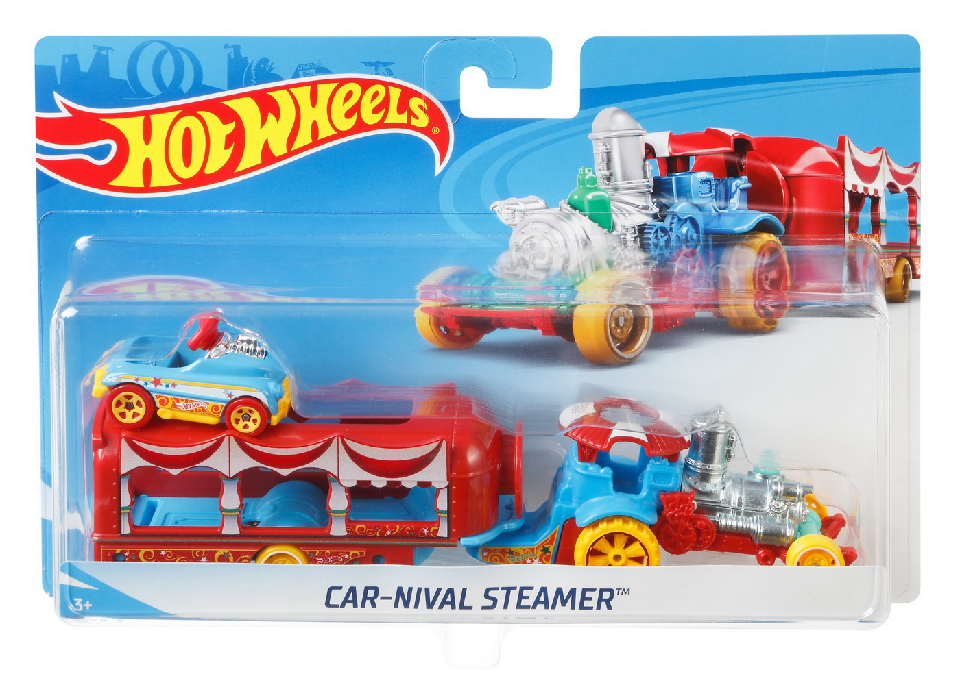 Set Camion Si Masina Sport Hot Wheels Carnival Steamer