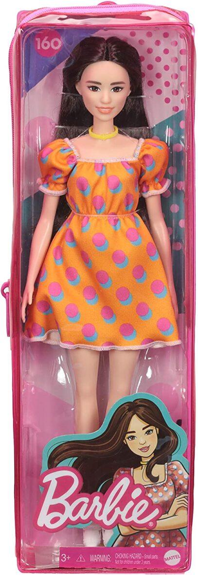 Papusa Barbie Fashionista Satena Cu Rochita Portocalie Cu Buline