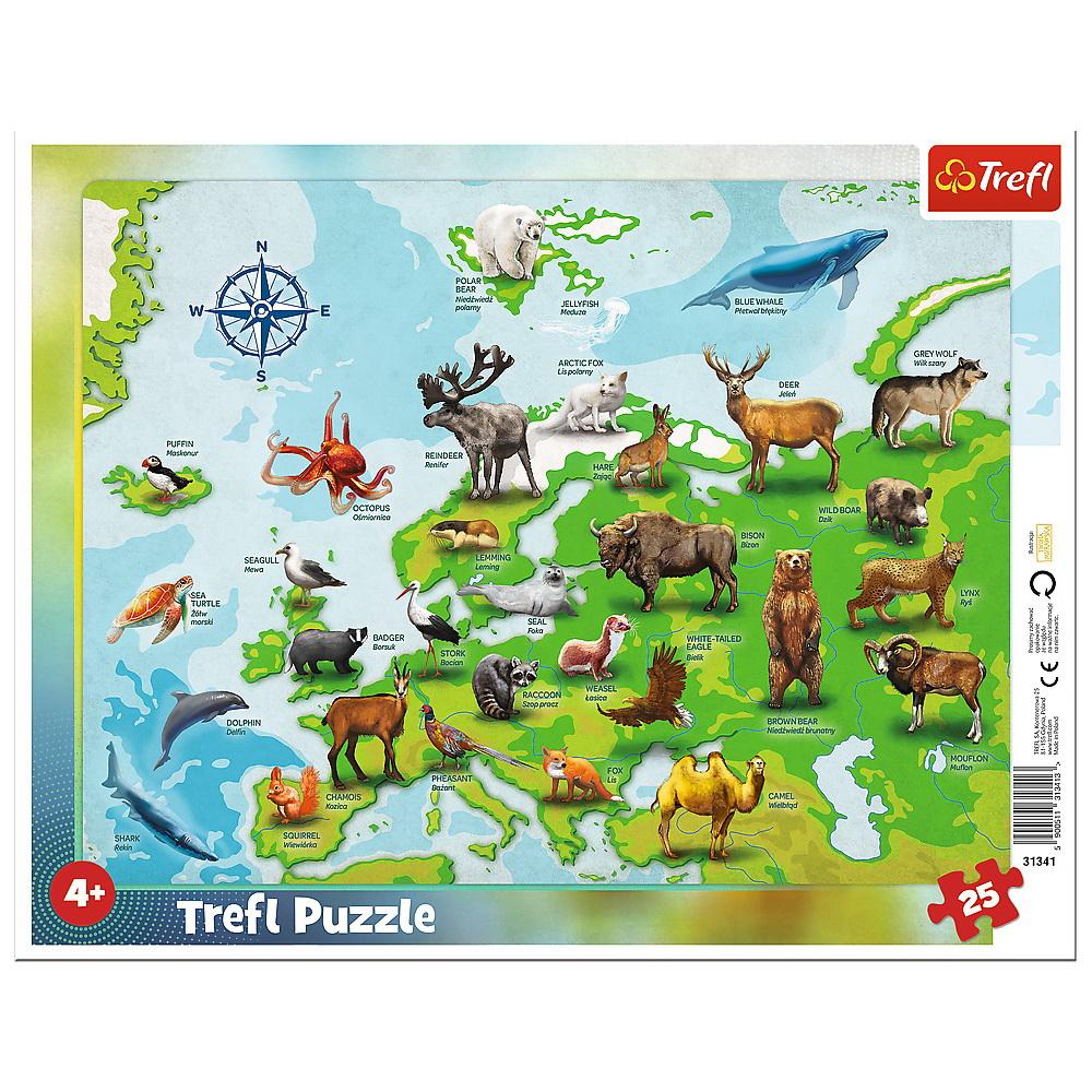 Puzzle 25 Plansa Harta Europei Cu Animale