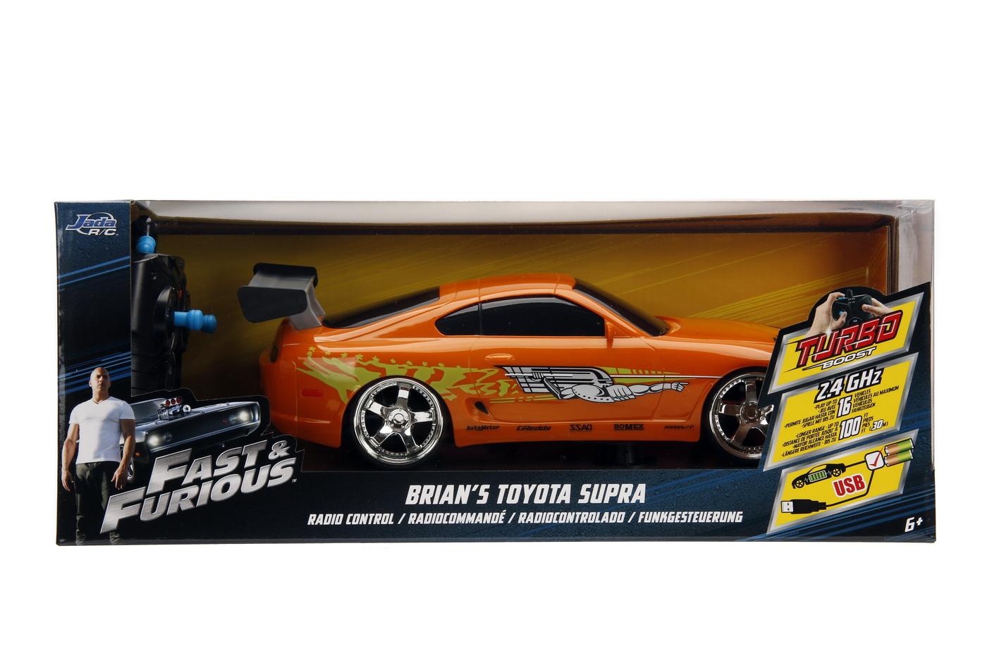 Masinuta Metalica Cu Telecomanda Fast Furious Rc Brian's Toyota Supra Scara 1:16