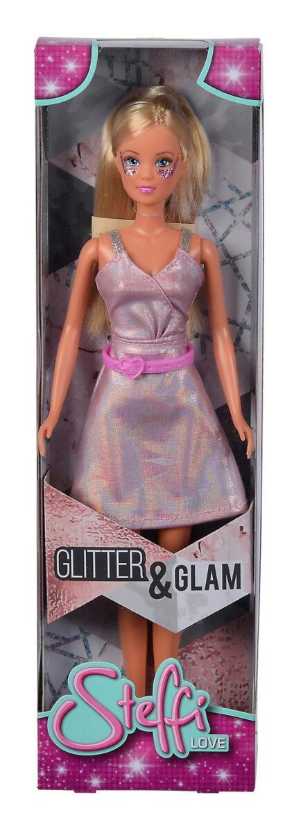 Papusa Steffi Glitter Glam Cu Rochie Roz