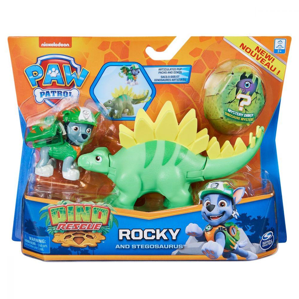 Patrula Catelusilor Set Figurina Catelus Rocky Si Dinozaurul Stegosaurus