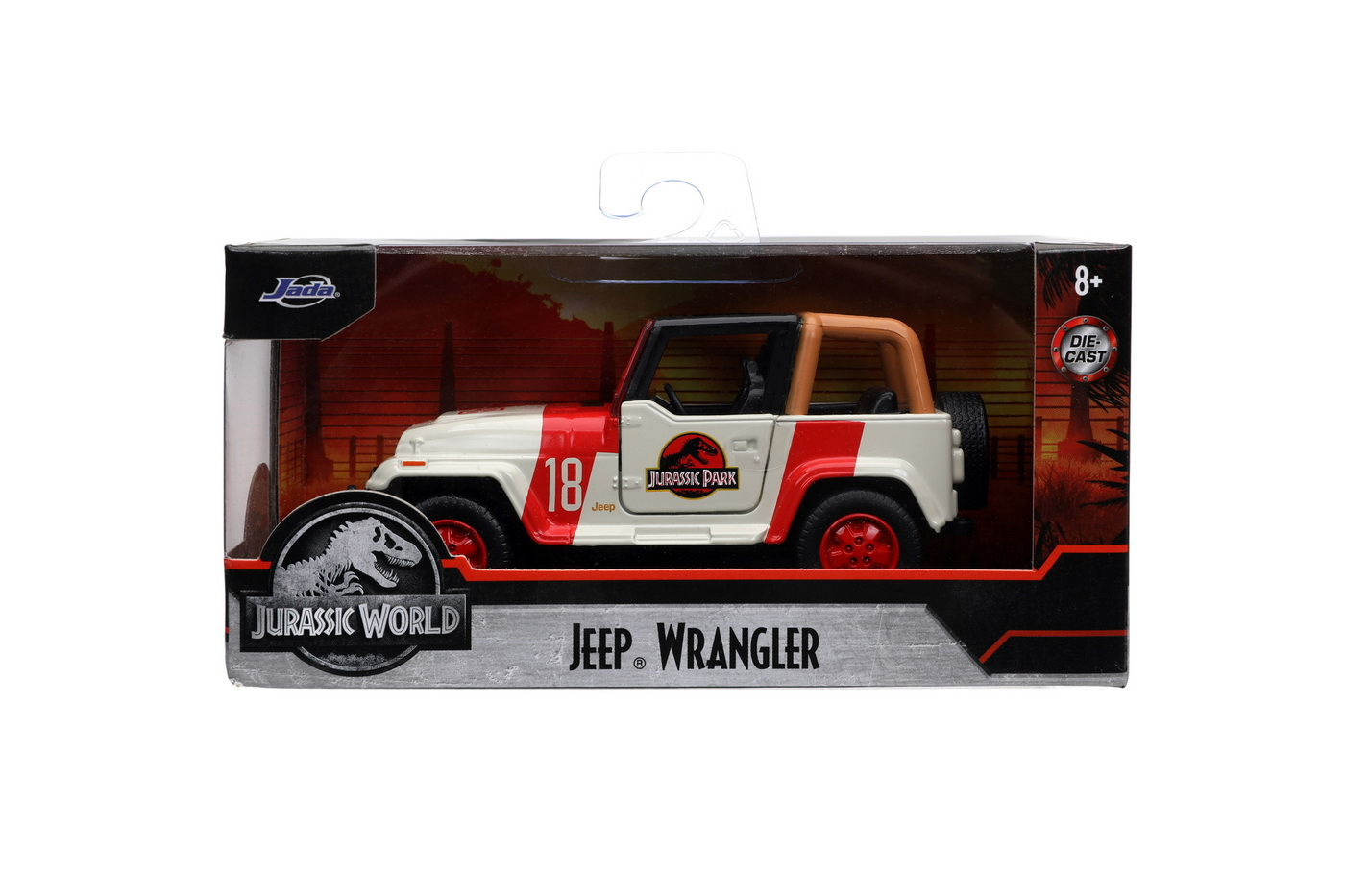 Jurassik Park Masinuta Metalica Jeep Wrangler Scara 1:32