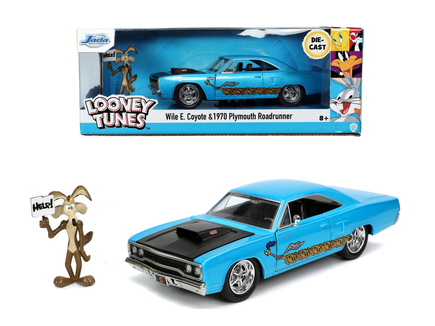 Looney Tunes Road Runner Set Masinuta Metalica  1970 Plymouth Scara 1:24 Si Figurina Wile E Coyote